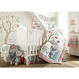 Levtex Baby – Fiona Crib Bed Set – Baby Nursery Set – Pink, Teal, White – Woodland Forest Theme – 5 Piece Set Includes Quilt, Fitted Sheet, Diaper Stacker, Wall Decal & Crib Skirt/Dust Ruffle