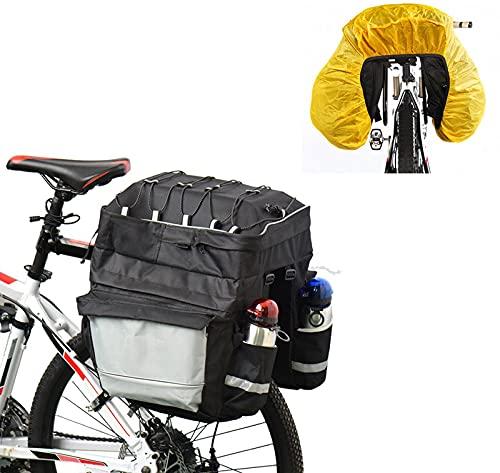 XYLUCKY Borsa Portabiciclette Borsa Portabiciclette Borsa Posteriore per Bicicletta con Portabottiglie Copertura Impermeabile con Rivestimento Riflettente, per La Spesa in Bicicletta