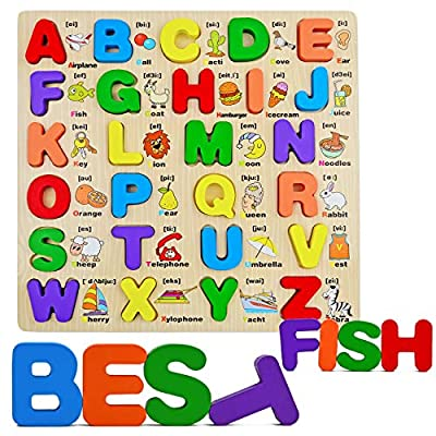 Wooden Alphabet ABC Puzzle for Kids Ages 3-5, Early Education Upper Case Chunky Letters Puzzles for Preschool & Kindergarten Toddlers