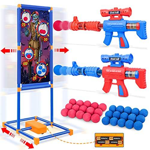 Jumpit Shooting Game Toy with Moving Target, 2 Pack Foam Ball Popper Air Toy Guns for 5 6 7 8 9 10+ Years Olds Boys Girls with 30 Form Balls, Shooting Target, Indoor Outdoor Activity Game