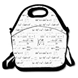 School Math Geometry Science Formules Chalk Board Style Image Art Lunch Bag Neoprene Lunch Reusable Tote Box School Office Picnic Lunchbox for Women Men Students Worker