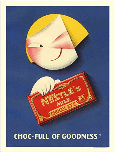 Metalen bord 150401 Nestle Melk Chocolade 1920s A4 12x8 AluminiuM