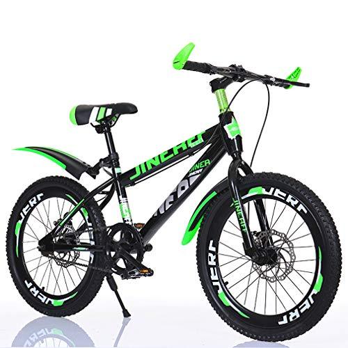 YAOXI Mountainbike Mit Dicke Gummireifen, Einzelne Geschwindigkeit Rahmen Aus Kohlenstoffstahl Kinderfahrrad Doppelscheibenbremssystem Jungen-Mädchen MTB,Black/Green,20Inch