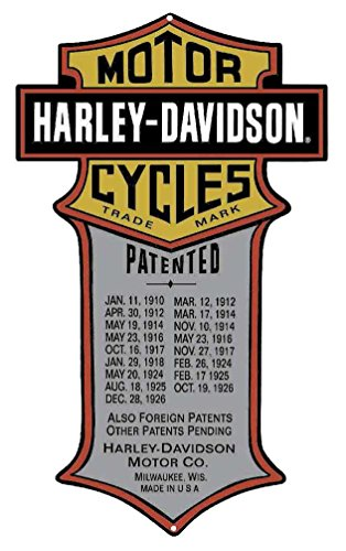 Harley-Davidson Patented Dates Tin Metal Sign 11 x 18 Inches 2010181