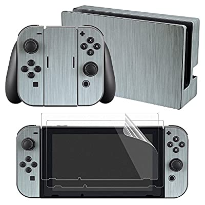 eXtremeRate Full Set Faceplate Skin Decal Stickers for Nintendo Switch with 2Pcs Screen Protector (Console & Joy-con & Dock & Grip)-Steel Texture