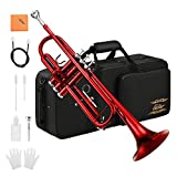 Eastar Bb Trumpet Standard Trumpet Set for Student Beginner with Hard Case, Valve Oil, Cleaning Kit, 7C Mouthpiece and Gloves, Brass Bb Trumpet Instrument, Red, ETR-380R