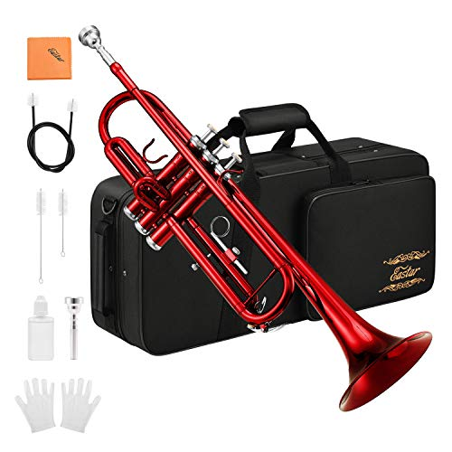 Eastar Standard Bb Red Trumpet Set for Student Beginner Brass Instrument with Hard Case, Gloves, 7 C Mouthpiece, Valve Oil and Trumpet Cleaning Kit, ETR-380R (Red)