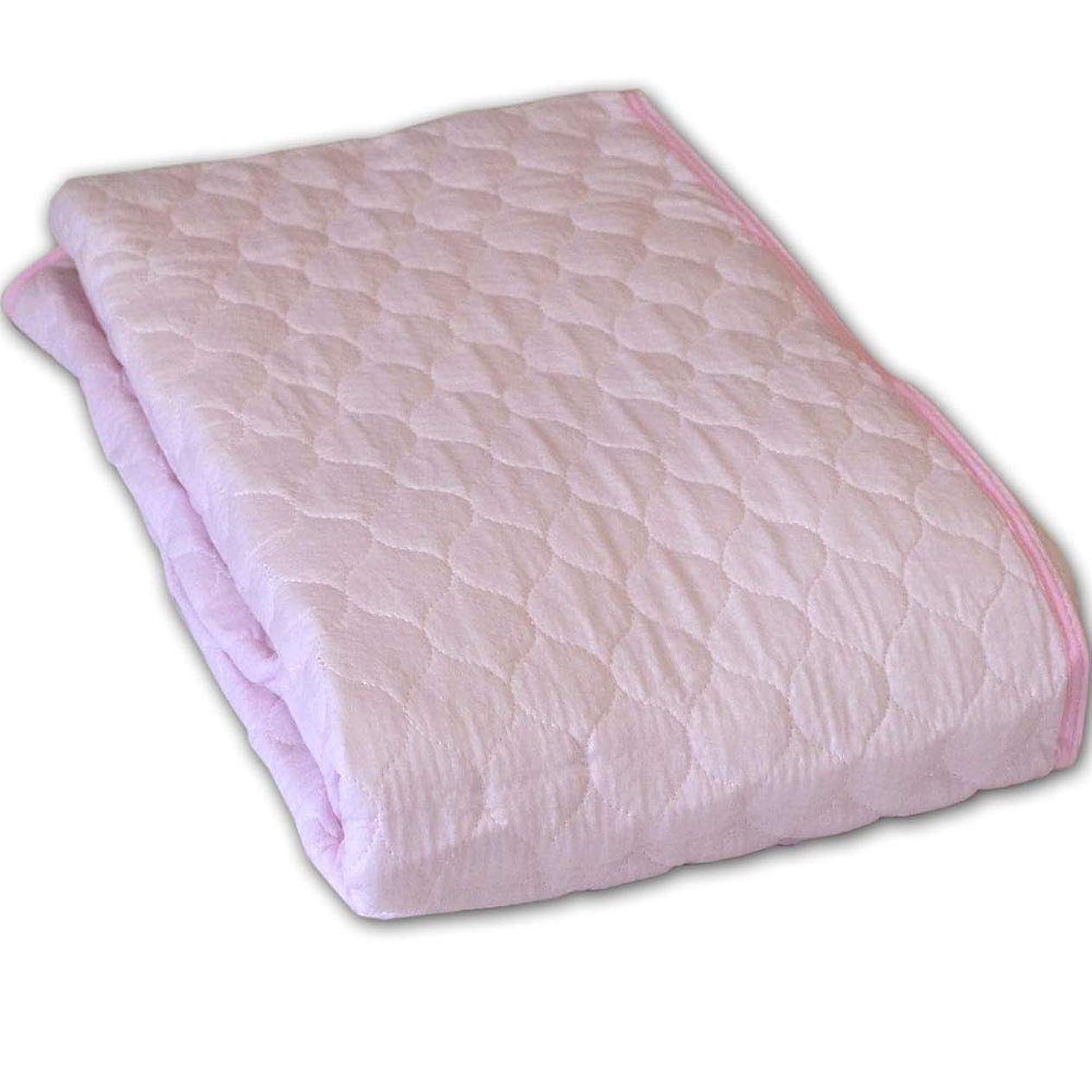 決済九月ノーブランド品 さらっとした感触できもちいエンボス加工の敷きパッド セミファミリー 220×205cm ピンク