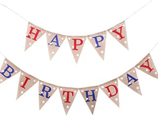 EBTOYS HAPPY BIRTHDAY Banner 4th of July Banner America Independence Day Garland Bunting Banner Memorial Day Veterans Day Photo Prop Sign