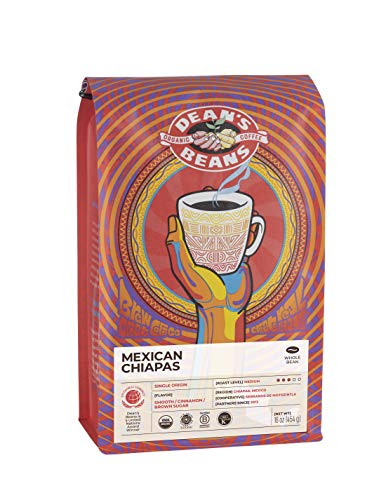Dean's Beans Organic Coffee Company, Mexican Chiapas Single Origin, Ground, 16 Ounce Bag (Organic, Fair Trade and Kosher Certified)