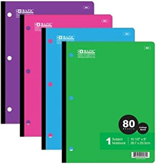 6 Pk, BAZIC 581 College Ruled 80 Sheets Wireless Notebook