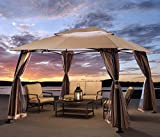 Barton 10' x 13' ft Garden Patio Gazebo Fully Enclosed All-Season w/Mosquito Netting and Curtains -Beige