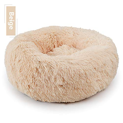 OMILEK Mascota Perro Gato Cama Redonda Nido Cálido Suave Felpa Cómoda para Dormir Invierno Inferior Impermeable (50 cm) [ Beige ]