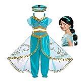 FINDPITAYA Disfraz Aladin Niña Vestido de Princesa Jasmine Cosplay Costume con Peluca (4-5 años)