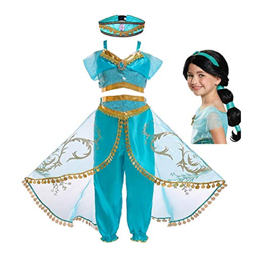 FINDPITAYA Disfraz Aladin Nia Vestido de Princesa Jasmine Cosplay Costume con Peluca (4-5 aos)