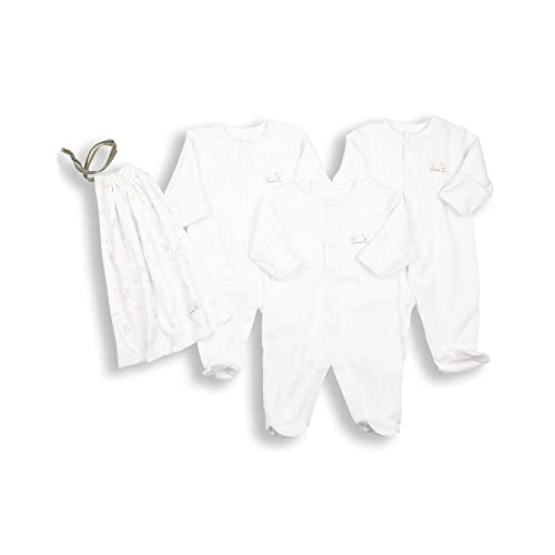 The Essential One - Pack of 3 White Sleepsuits Baby grows + Bag - ESS1 7cfb43bfb367