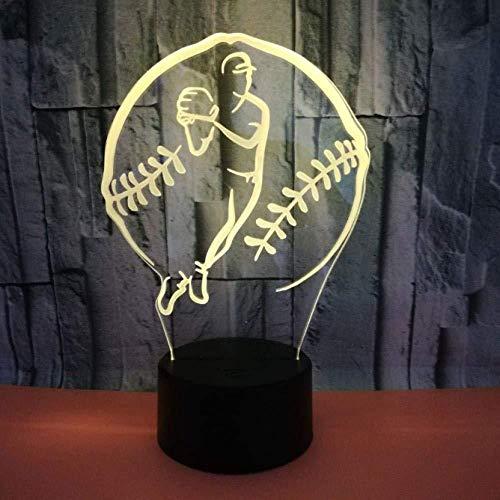 Nieuwe Trade creatieve baseball-3D-lamp kleurrijke LED visueel geschenk sfeerverlichting tafellamp kerstversiering cadeau voor baby kamer ligh