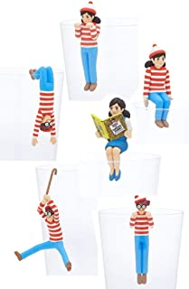 Kitan Club Putitto Fuchico Where's Waldo Cup Toy - Blind Box Includes 1 of 7 Collectable Figurines - Hangs on Thin, Flat Edges - Authentic Japanese Design - Made from Durable Plastic