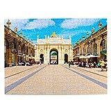 Francia Place Stanislas Nancy Rompecabezas para Adultos, 500 Piezas de Madera, Regalo de Viaje, Recuerdo, 20.4 x 15 Pulgadas