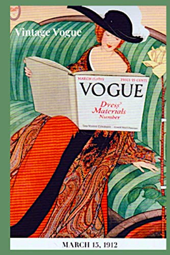 VINTAGE VOGUE: Combination of Sketchbook and Journal - Pages on right side blank for sketching or pasting - Left side page ruled for writing - Cover ... illustrations - great gift for fashion lover
