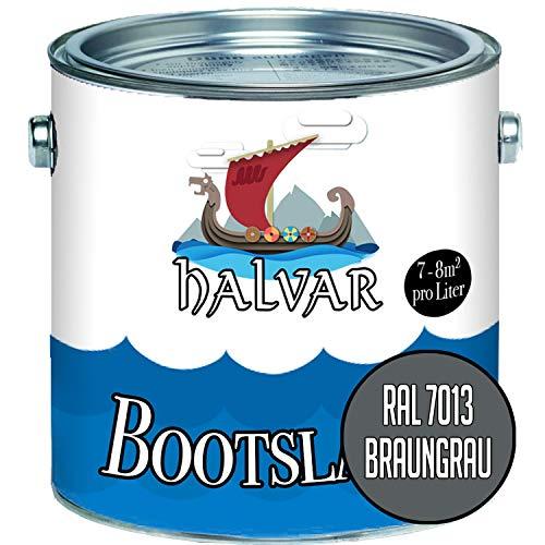 Halvar Bootslack Grau RAL 7000-7047 Yachtlack SEIDENMATT Bootsfarbe PU-verstärkt für Holz & Metall verstärkt extrem belastbar hochelastisch Schiffslackierung (2,5 L, RAL 7013 Braungrau)