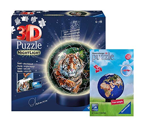 Ravensburger Puzzle Set - 3D Puzzle Nachtlicht Raubaktzen (11248) + 3D Puzzle Weltkugel (Polybag), ab 6 Jahren