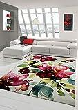 Designer Teppich Moderner Teppich Wohnzimmer Teppich Blumenmotiv Creme Grün Türkis Rosa Pink Größe 80x150 cm