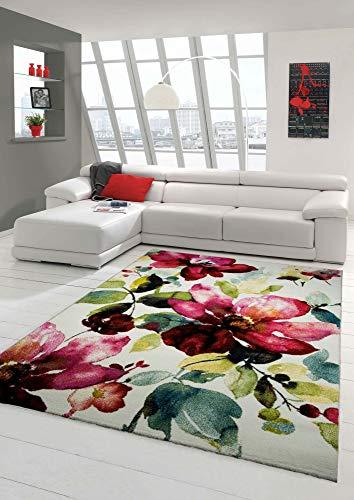 Designer Tapis Contemporain Tapis du Salon Motif Floral Creme Vert Turquoise Rose Rose Größe 160x230 cm