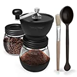 Manual Coffee Grinder with Ceramic Burrs, Hand Coffee Mill with Two Glass Jars(11oz Each), Brush and Tablespoon Scoop