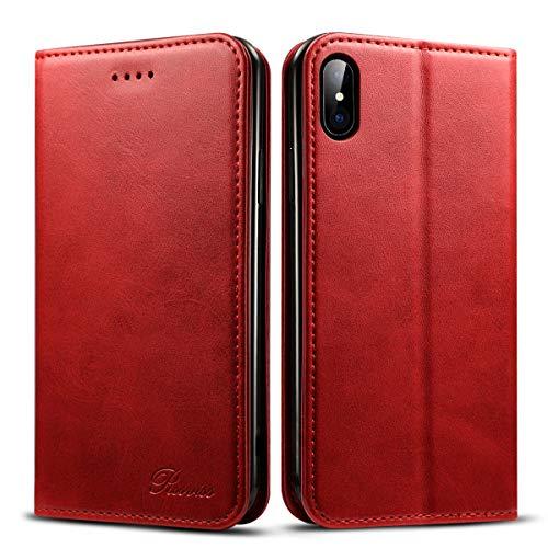 iPhone Xs ケース 手帳型 アイフォンX ケース 手帳型 - Rssviss マグネット カード収納 Qi充電対応 スタンド機能 カバー PUレザー [iPhone X/iPhone Xs 5.8 inch 適応] W1 レッド