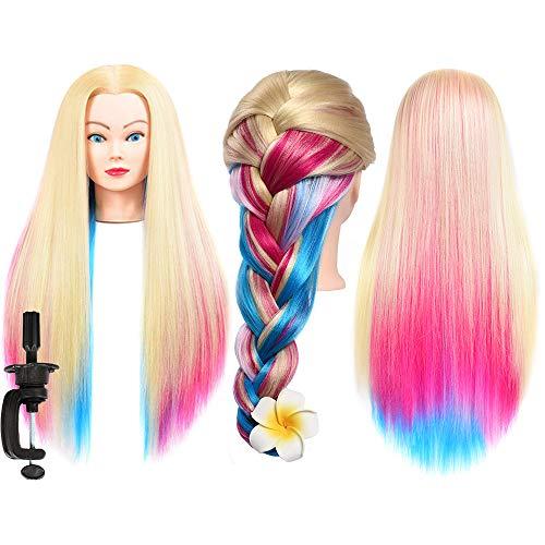 Training Head Synthetic Fiber Hair Mannequin Head Cosmetology Manikin Practice Head Hairdresser Training Styling Head Long Hair Mannequin Head Training Head Rainbow Hair Hairdressing Model Head