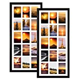 """MEBRUDY 2 Pack 4x6 Collage Picture Frames with 15 Openings, Multi Black Photo Frame with White Mat Displays 4""""x 6"""" Pictures"""