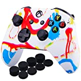 YoRHa Printing Rubber Silicone Cover Skin Case for Xbox One S/X Controller x 1(Colourful Paint) with PRO Thumb Grips x 8