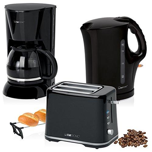 Frühstücksset, Tropfkaffeemaschine 14 Tassen, Brottoaster 2 Scheiben, Elektrischer Wasserkocher 1,7 Liter, schwarz, Stil Color Up