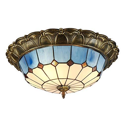 SEESEE.U Stil Deckenleuchte Unterputz Deckenleuchte Mediterrane Glasschirm Lampe Semi Unterputz Glühbirnen Blau und Weiß (16 Zoll)