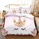 Unicorn Bedding Set Twin Size Charming Eyes Floral Feather Eyelashs 3D Duvet Cover Lovely Soft Brushed Microfiber Quilt Cover for Girls Kids Teens