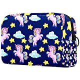 Bolsa de maquillaje divertida para mujer y niña, bolsa de cosméticos espaciosa con cremallera, verde y amarillo unicornio