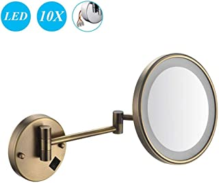 Makeup Mirror, 10X Magnification Wall Mounted Mirrors Makeup Shaving Mirror LED Lighted Bathroom Mirror Conceal Install for Hotel Vanity with Adjustable Extendable 8 inch