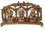 Crafting with Love Un hermoso metal Lakshmi Ganesha Saraswati con marco de pavo real que mejora la belleza de tu hogar, 15,2 x 25,4 cm aprox.