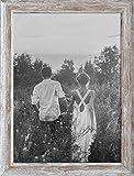 PF&A Marco de Fotos (A4, 29,7 x 21 cm, Cristal con Efecto de Madera Envejecida, Vertical, Horizontal), diseño de casa de Granja