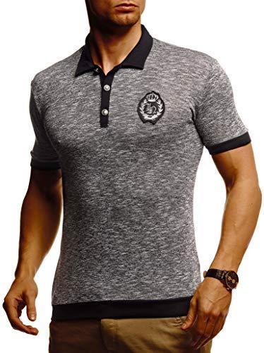 Leif Nelson Herren Sommer T-Shirt Polo Shirt Slim Fit Baumwolle-Anteil Cooles Basic Männer T-Shirt Polo-Kragen Jungen Kurzarmshirt O-Neck Kurzarm Lang LN5105T Schwarz Medium