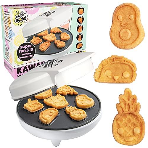 Kawaii Fun Snacks Mini Waffle Maker - 7 Different Food Emoji Designs Featuring an Avocado, Pizza, Ramen, Taco & More - The Cool Electric Waffler Gift for Amazing Kid