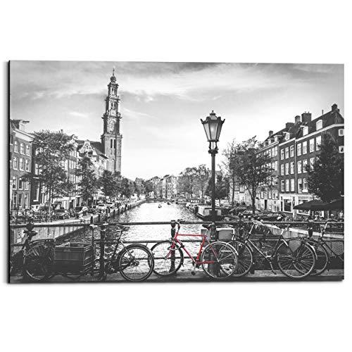 Schilderij Deco Panel Amsterdamse grachten Stad - Brug - Rode fiets - 90 x 60 cm