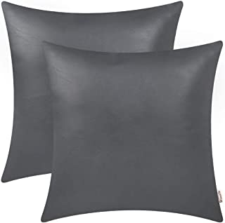 BRAWARM Pack of 2 Cozy Throw Pillow Covers Cases for Couch Sofa Bed Solid Faux Leather Soft Luxury Cushion Covers Both Sides Home Decoration 18 X 18 Inches Charcoal Gray