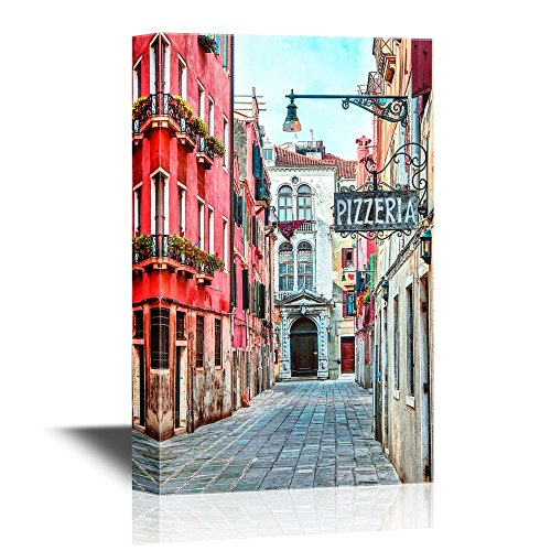wall26 - Canvas Wall Art - Quaint Street in Historic Venice, Italy with Pizzeria Sign - Gallery Wrap Modern Home Decor | Ready to Hang - 12x18 inches