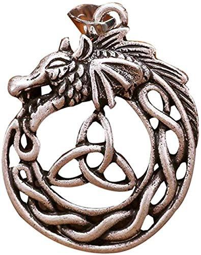 LKLFC Collar Colgante Collar de Cadena Mujeres Hombres Collar Celtic Dragon Trinity Nudo Collar Hombres Colgante Viking Collares Joyería 1pcs Regalo