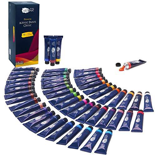 Artina Acrylfarben Set Crylic 48 Tuben je 22ml Künstlerfarben Malerei Acryl Farben Set - Premium Acryl Farbenset für Malen auf Keilrahmen – Mal Farbe Acrylfarbe Set
