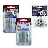Singer Pack de 2 Paquetes de Agujas Universales para coser Algodón y Tejidos de punto, elásticos y lycra 2020, y 2045 Sistema 130/705 H (Plano de un Lado) HAx1 y H-S + Canillas Metálicas