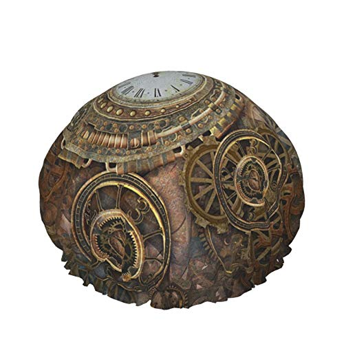 Doublelayer Waterproof Shower Cap,Rusty Steampunk Background Clock Different Kinds,for Women Reusable washable Long Hair caps