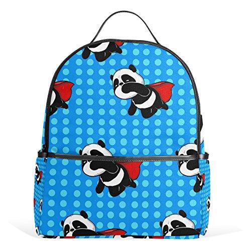 TIZORAX Super Hero Panda Blue Laptop Backpack Casual Shoulder Daypack for Student School Bag Handbag - Lightweight